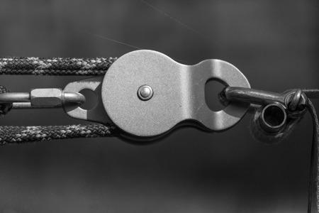 slack: Equipment for slackline . Black and white photos Stock Photo