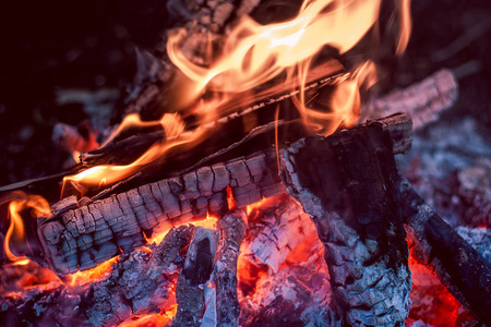 pyre: Close-up of burning wood and coal.