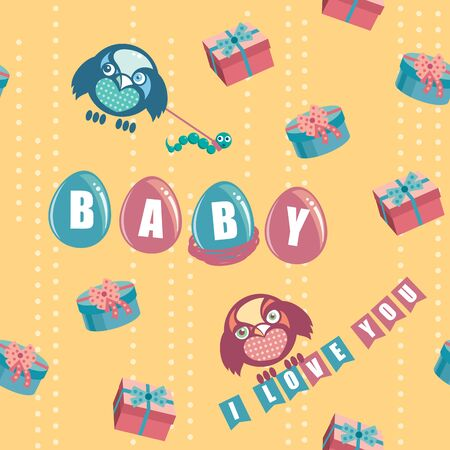 mather: Seamless pattern with bird and eggs and BABY text Illustration