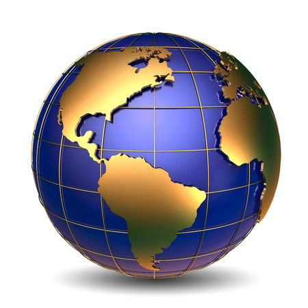 白い背景の上の経済的な成功の黄金の世界シンボル