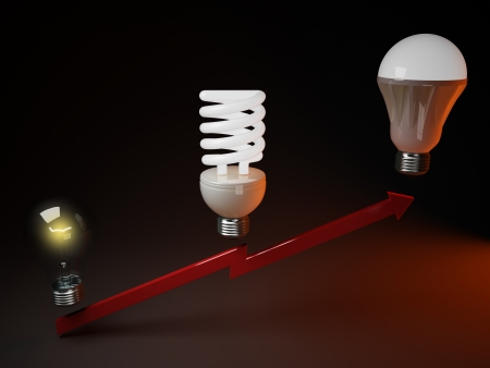 incandescent: Progress lighting from incandescent bulbs to LED bulbs Stock Photo