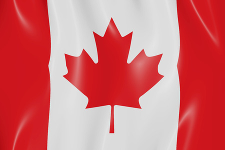 canadian state flag: Canadian state flag tossed in the wind