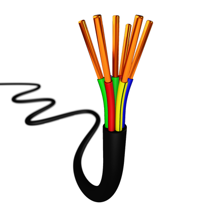 Colorful Copper Electrical Cable On White Background Photo