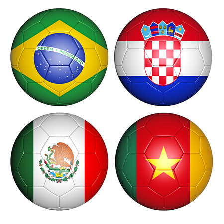 qualify: Brazil world cup 2014 group A flags on soccer balls