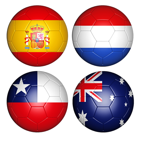 Brazil world cup 2014 group B flags on soccer balls photo