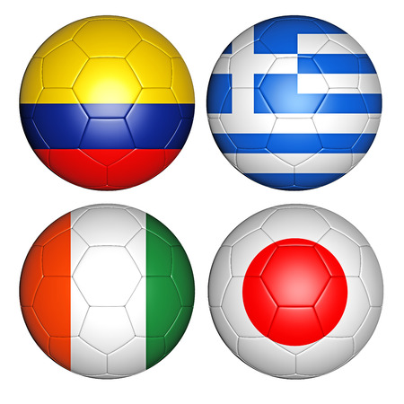 soccerball: Brazil world cup 2014 group C flags on soccer balls