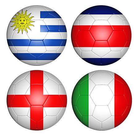 d: Brazil world cup 2014 group D flags on soccer balls