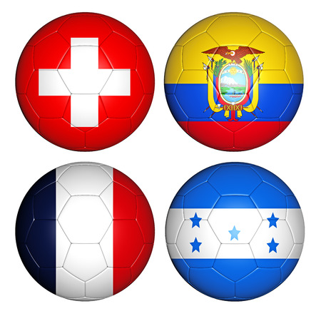Brazil world cup 2014 group E flags on soccer balls photo