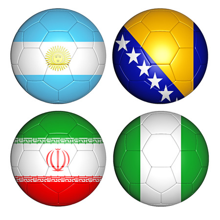 soccerball: Brazil world cup 2014 group F flags on soccer balls