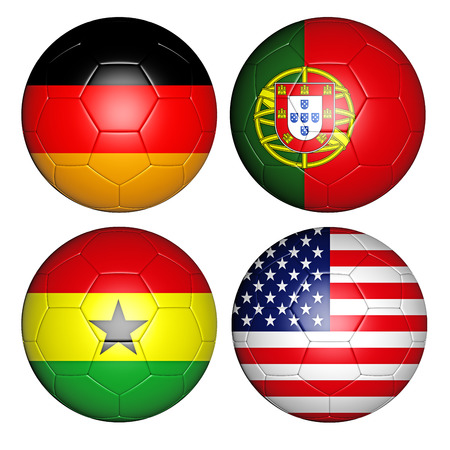 soccerball: Brazil world cup 2014 group G flags on soccer balls
