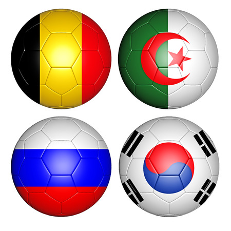 korean national: Brazil world cup 2014 group H flags on soccer balls Stock Photo