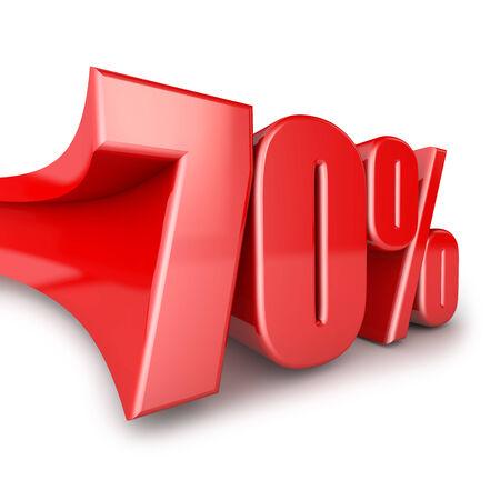 Seventy percent volumetric figure on a white background photo