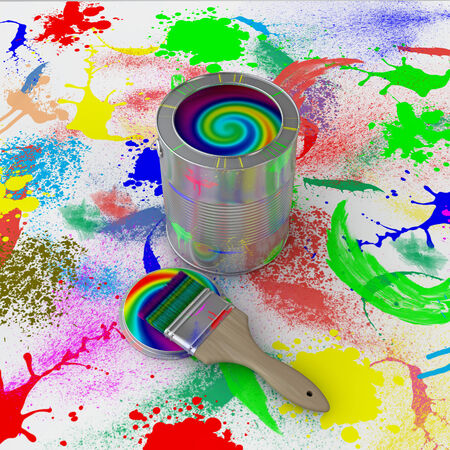 bank with colorful paint and brush on the background paint splashes photo
