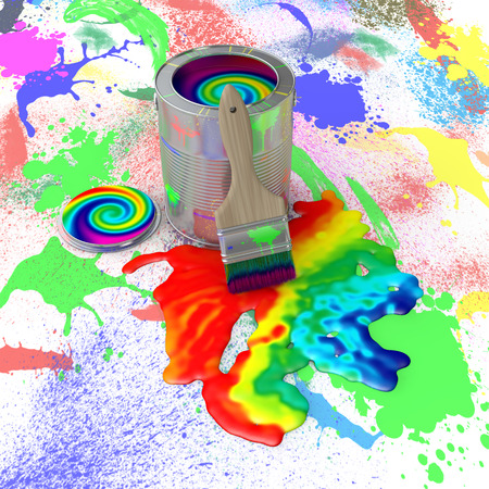 bank with colorful paint and brush on the paint splashes photo