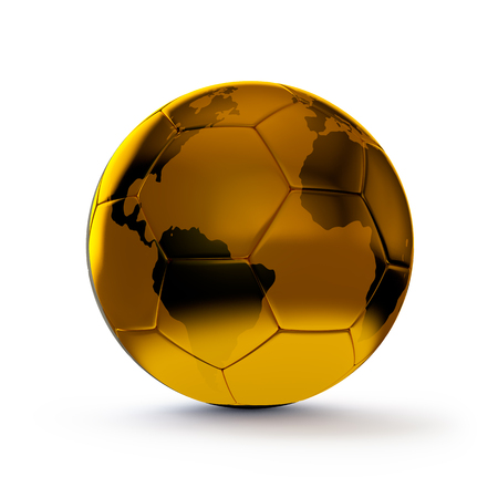 golden ball with earth map for soccer photo