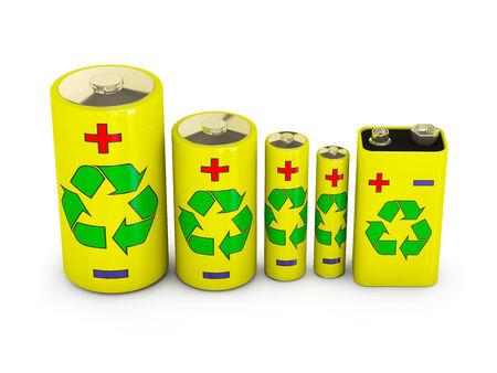 different types of batteries with the image of sign Recycling photo