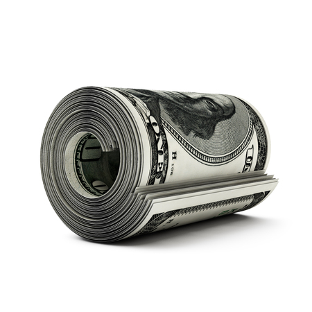rubberband: dollar bills in a roll on a white background
