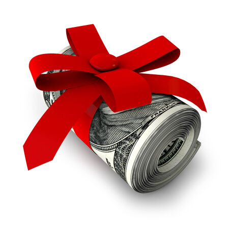 roll of banknotes tied with red ribbon photo