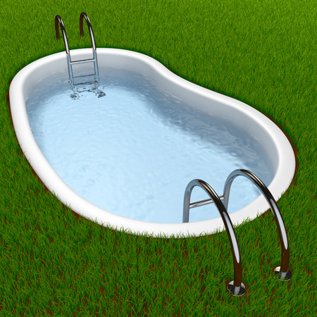 swimming pool on the grass 3d render Фото со стока