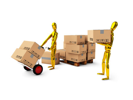 golden man together unload boxes on white background photo