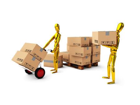 sacktruck: golden man together unload boxes on white background