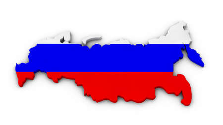 Russia outline in the colors of the national flag photo