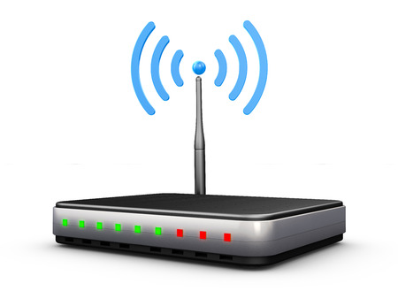 dsl: wifi router with antenna and signal blue