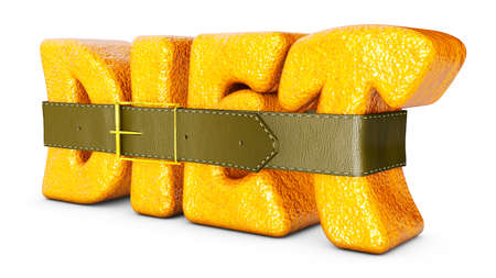 leather belt: word DIET crusted orange and leather belt around