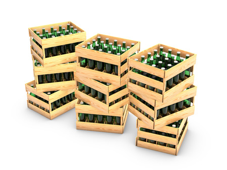 wooden box with green glass bottles on white background photo