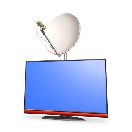 modern 4k HD TV panel and satellite dish photo