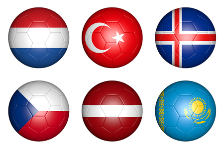balls with flags of countries  Netherlands, Czech Republic, Turkey, Latvia, Iceland, Kazakhstan  photo