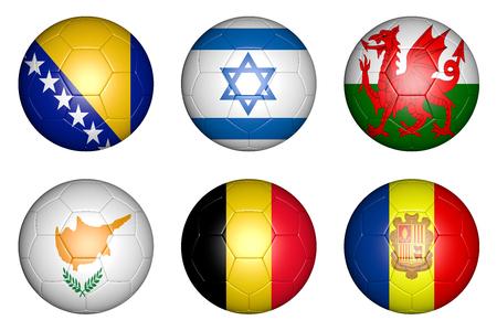 balls with flags of countries  Bosnia; Herzegovina, Belgium, Israel, Wales, Cyprus, Andorra  photo