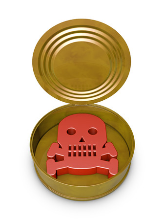food poisoning: open tin can in which is a symbol of skull and and crossbones Stock Photo