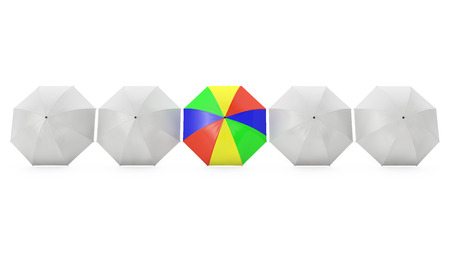 which one: five umbrellas one of which is multi-colored on a white background Stock Photo