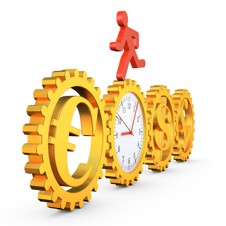 rotates: red running man rotates the gear clock which rotates the gears with the symbols of different currencies