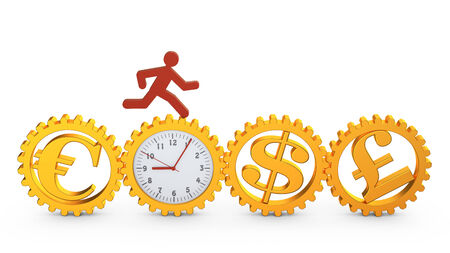 gold rush: red running man rotates the gear clock which rotates the gears with the symbols of different currencies