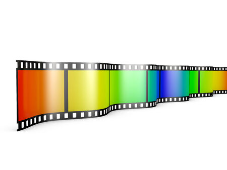 film with a color gradient on a white background photo