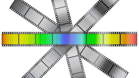 film with color pictures on the background uncolored film photo
