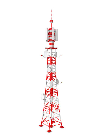 tower transmits different signals on a white background