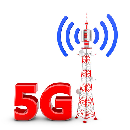 Telecommunication tower with the emitted signal and the red letters: 5G