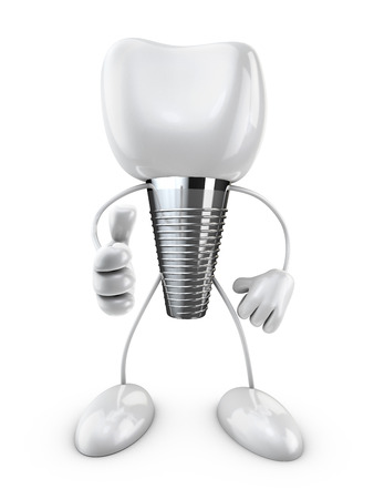 implantaat tand geeft een handgebaar op witte achtergrond