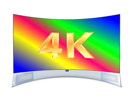 oled: curve tv panel large size on a white background Stock Photo