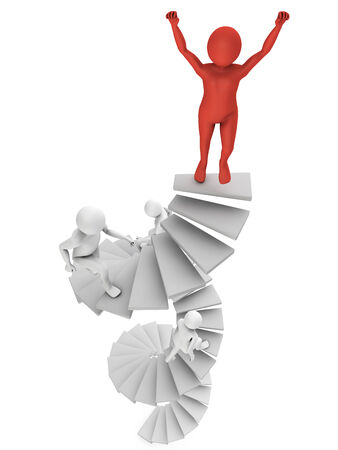 running man on a spiral staircase on a white background photo