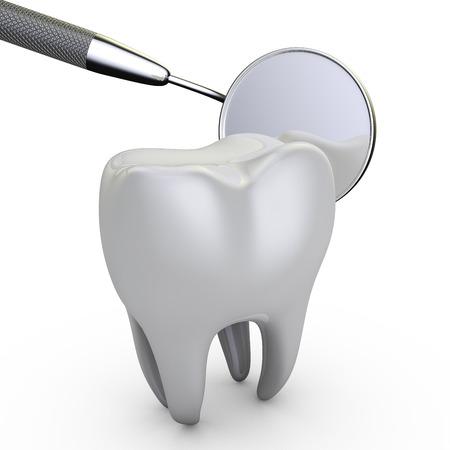 maaltand en een tandheelkundige spiegel op een witte achtergrond
