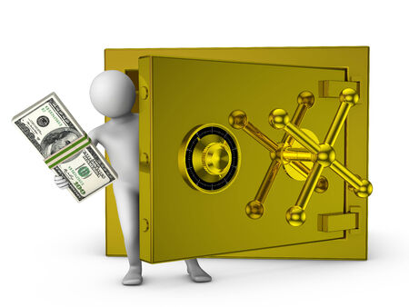 wad: man holding a wad of bills near the gold safe Stock Photo