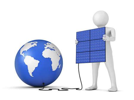 man holding a solar panel near Globe photo
