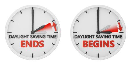 time change to daylight saving time on white background Standard-Bild