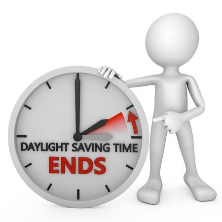 el tiempo: hombre apunta al cambio de hora para el horario de verano sobre fondo blanco