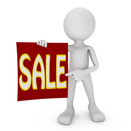 rood teken: man met een rood bord met het woord verkoop