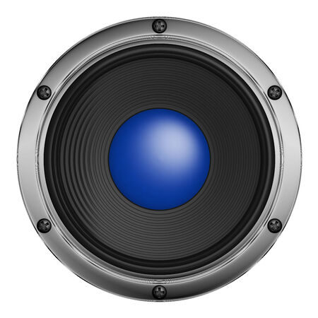 speaker with metal decoration on a white background photo